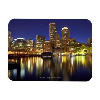 USA, Boston, city skyline at night (long Rectangular Photo Magnet