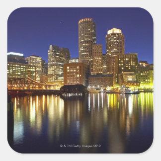 USA, Boston, city skyline at night (long Square Sticker