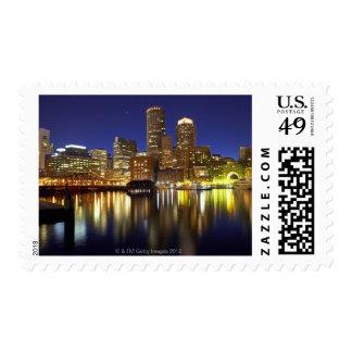 USA, Boston, city skyline at night (long Stamp