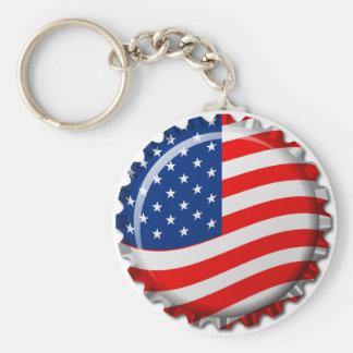 USA Bottle Cap Basic Round Button Keychain
