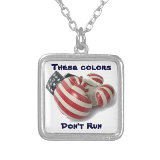 USA Boxing Gloves Silver Plated Necklace