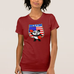Women's American Apparel Fine Jersey Short Sleeve T-Shirt with United States Boxing Panda design