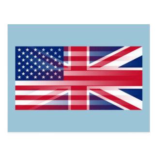 USA BRITISH FLAG POSTCARD