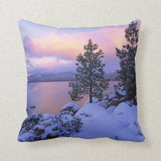 USA, California. A winter day at Lake Tahoe. Throw Pillow