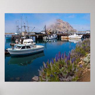 USA, California. Docked Boats At Morro Bay Poster