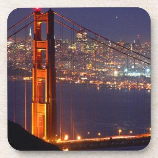USA, California. Golden Gate Bridge At Night Drink Coaster