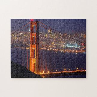 USA, California. Golden Gate Bridge At Night Jigsaw Puzzle