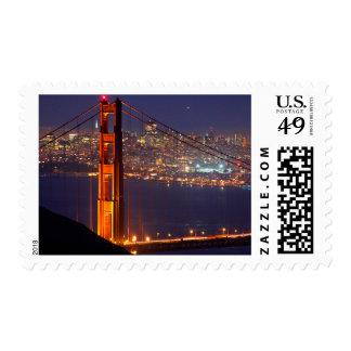 USA, California. Golden Gate Bridge At Night Stamp