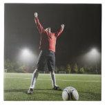 USA, California, Ladera Ranch, Football player 2 Large Square Tile