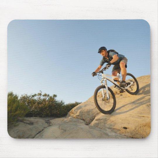 USA, California, Laguna Beach, Man cycling down Mouse Pad