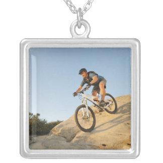 USA, California, Laguna Beach, Man cycling down Personalized Necklace