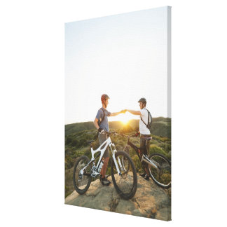 USA, California, Laguna Beach, Two bikers on Gallery Wrapped Canvas