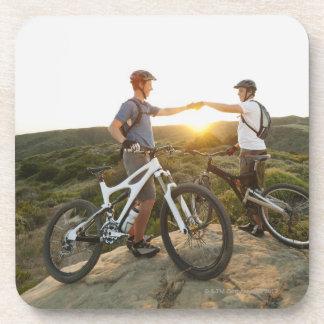USA, California, Laguna Beach, Two bikers on Coaster