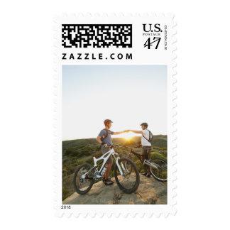 USA, California, Laguna Beach, Two bikers on Postage