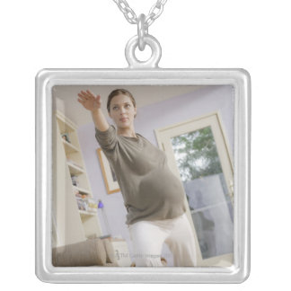 USA, California, Los Angeles, expectant mother Square Pendant Necklace