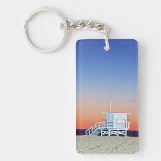USA, California, Los Angeles, Santa Monica Beach Double-Sided Rectangular Acrylic Keychain