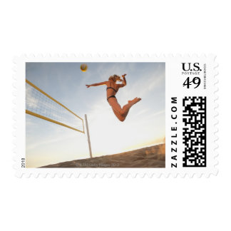 USA, California, Los Angeles, woman playing 2 Postage