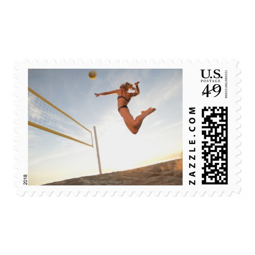 USA, California, Los Angeles, woman playing 2 Stamps