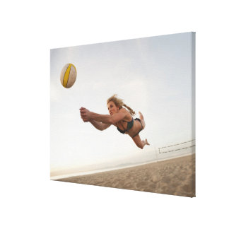 USA, California, Los Angeles, woman playing Gallery Wrap Canvas
