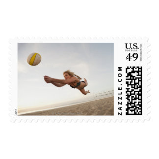 USA, California, Los Angeles, woman playing Postage