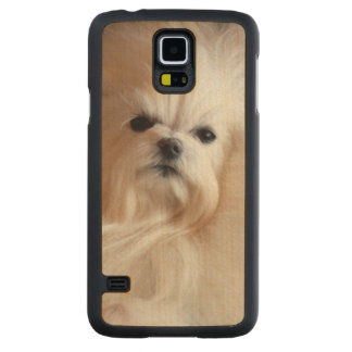 USA, California. Maltese Lying Down Carved Maple Galaxy S5 Slim Case