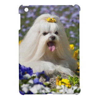 USA, California. Maltese Lying In Flowers Case For The iPad Mini