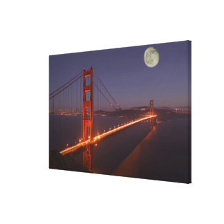 USA, California, Marin. Moonrise above the Canvas Print