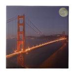 USA, California, Marin. Moonrise above the Small Square Tile
