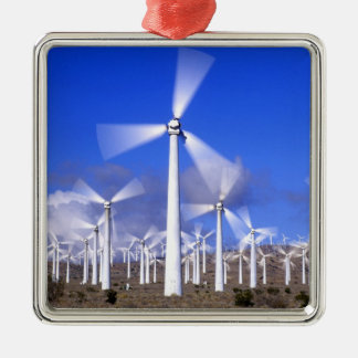 USA, California, Mojave. View of a wind turbine Square Metal Christmas Ornament