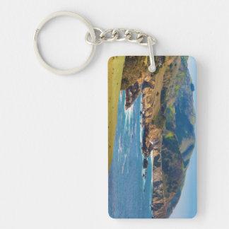 USA, California. Panorama Of Big Sur With Bixby Rectangle Acrylic Key Chain