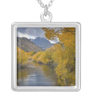 USA, California, River through Eastern Sierra Square Pendant Necklace