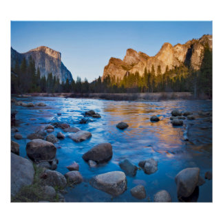 USA, California. Rocky Reflections In Merced Poster