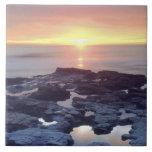 USA, California, San Diego. Sunset Cliffs tide Ceramic Tile