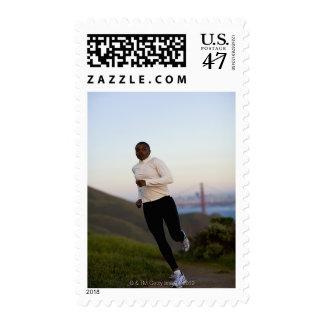 USA, California, San Francisco, Woman jogging, Stamp