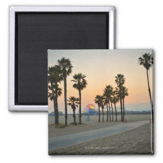USA, California, Santa Monica Pier at sunset 2 Inch Square Magnet