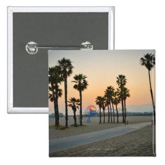 USA, California, Santa Monica Pier at sunset Buttons