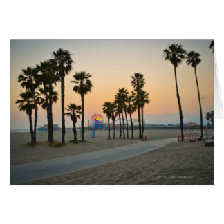 USA, California, Santa Monica Pier at sunset Card