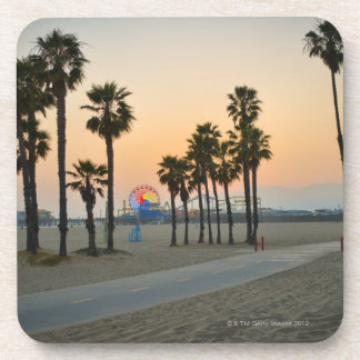 USA, California, Santa Monica Pier at sunset Drink Coaster