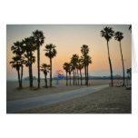 USA, California, Santa Monica Pier at sunset Greeting Card