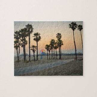 USA, California, Santa Monica Pier at sunset Jigsaw Puzzle