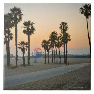 USA, California, Santa Monica Pier at sunset Large Square Tile