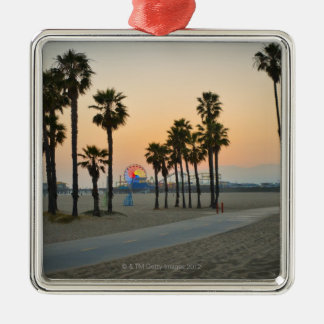 USA, California, Santa Monica Pier at sunset Metal Ornament