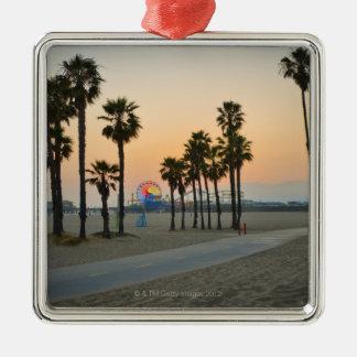 USA, California, Santa Monica Pier at sunset Metal Ornament