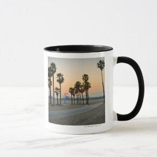 USA, California, Santa Monica Pier at sunset Mug