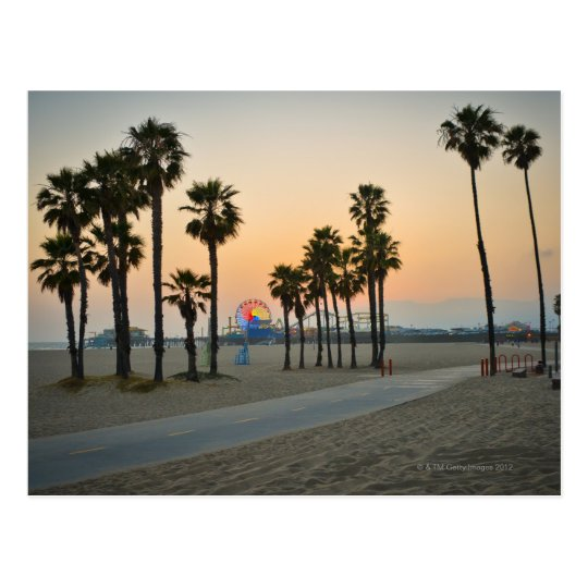 USA, California, Santa Monica Pier at sunset Postcard