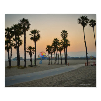 USA, California, Santa Monica Pier at sunset Poster