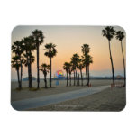 USA, California, Santa Monica Pier at sunset Rectangle Magnet