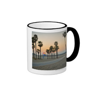 USA, California, Santa Monica Pier at sunset Ringer Coffee Mug
