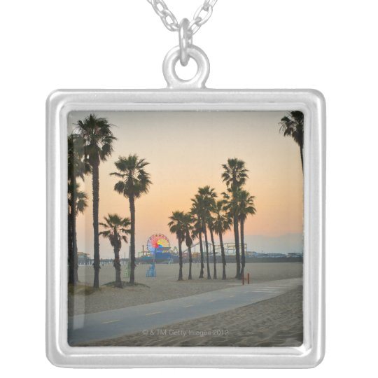 USA, California, Santa Monica Pier at sunset Silver Plated Necklace