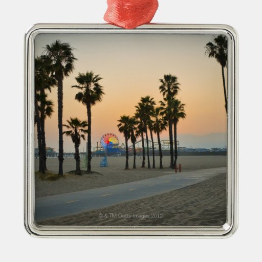 USA, California, Santa Monica Pier at sunset Square Metal Christmas Ornament